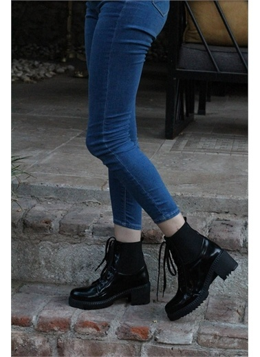 Modabuymus Modabuymus  Rugan  Lastikli Topuklu Postal Bot - Cindy Siyah